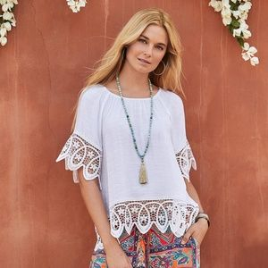 Sundance crystelle lace hem top white
